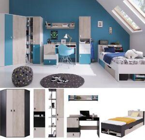 Details Zu Jugendzimmer Kinderzimmer Komplett Space Set A Eckschrank Schreibtisch 3 Regale