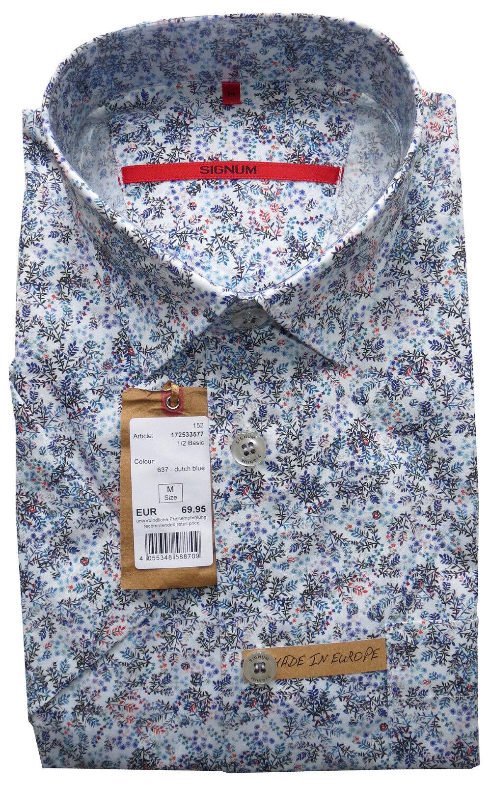 SIGNUM Hemd Kurzarm Comfort NEU   Gr. M   Baumwolle   Floralprint   S3.0262