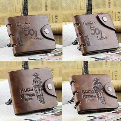Fashion Multi Pocket Genuine Leather Clutch Purse Men/'s Cowboy Bifold Wallet