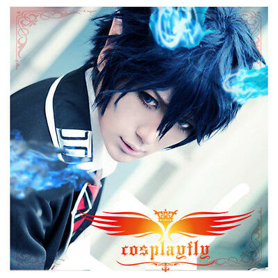 Hot Ao no Exorcist Okumura Rin Dark Blue Short Cosplay Wig Hair + Free Wig Cap