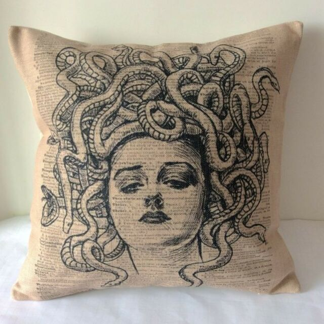 Vintage Medusa Head Cotton Linen Throw Pillow Cushion Cover For Home Decor Z252
