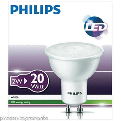 10 x LED 2w PHILIPS GU10 SPOT LAMP LIGHT BULBS 240v WARM WHITE 3000k MOOD ACCENT