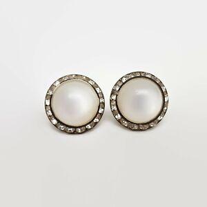 Vintage-Moonglow-amp-Rhinestone-Screwback-Earrings
