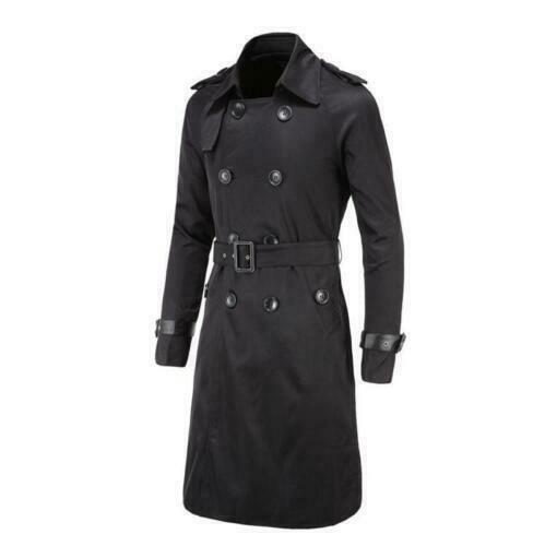 Mens Double Breasted Trench Coat Belted Long Jacket Male Fashion Coat Parkas Hot