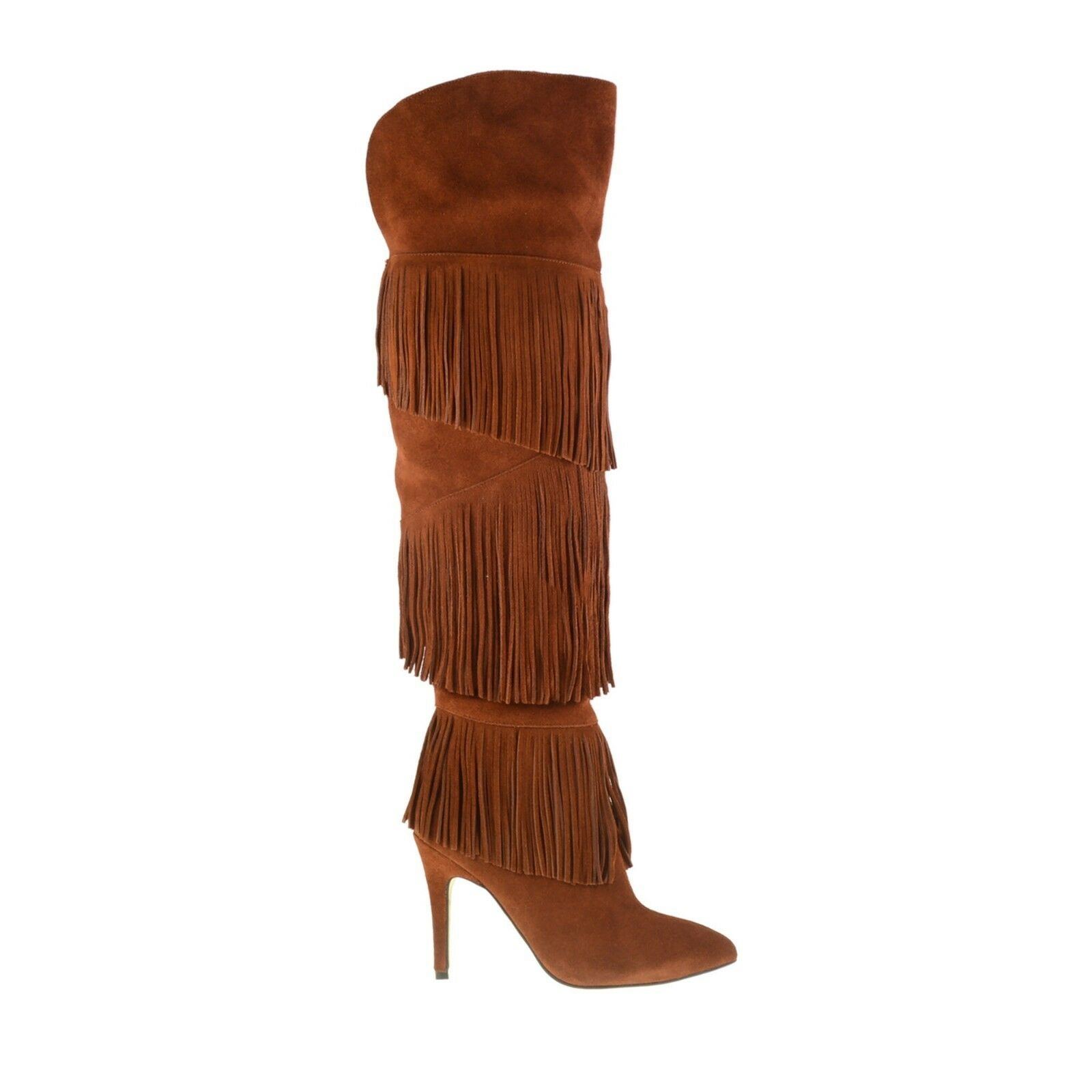 Chinese Laundry Kristin Cavallari Chance Brown Fringe Over Over Fringe the Knee Boot 6 NEW d04009