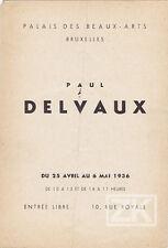 PAUL DELVAUX Exposition Surréaliste PEINTRE Expressionniste Belge Flyer 1936