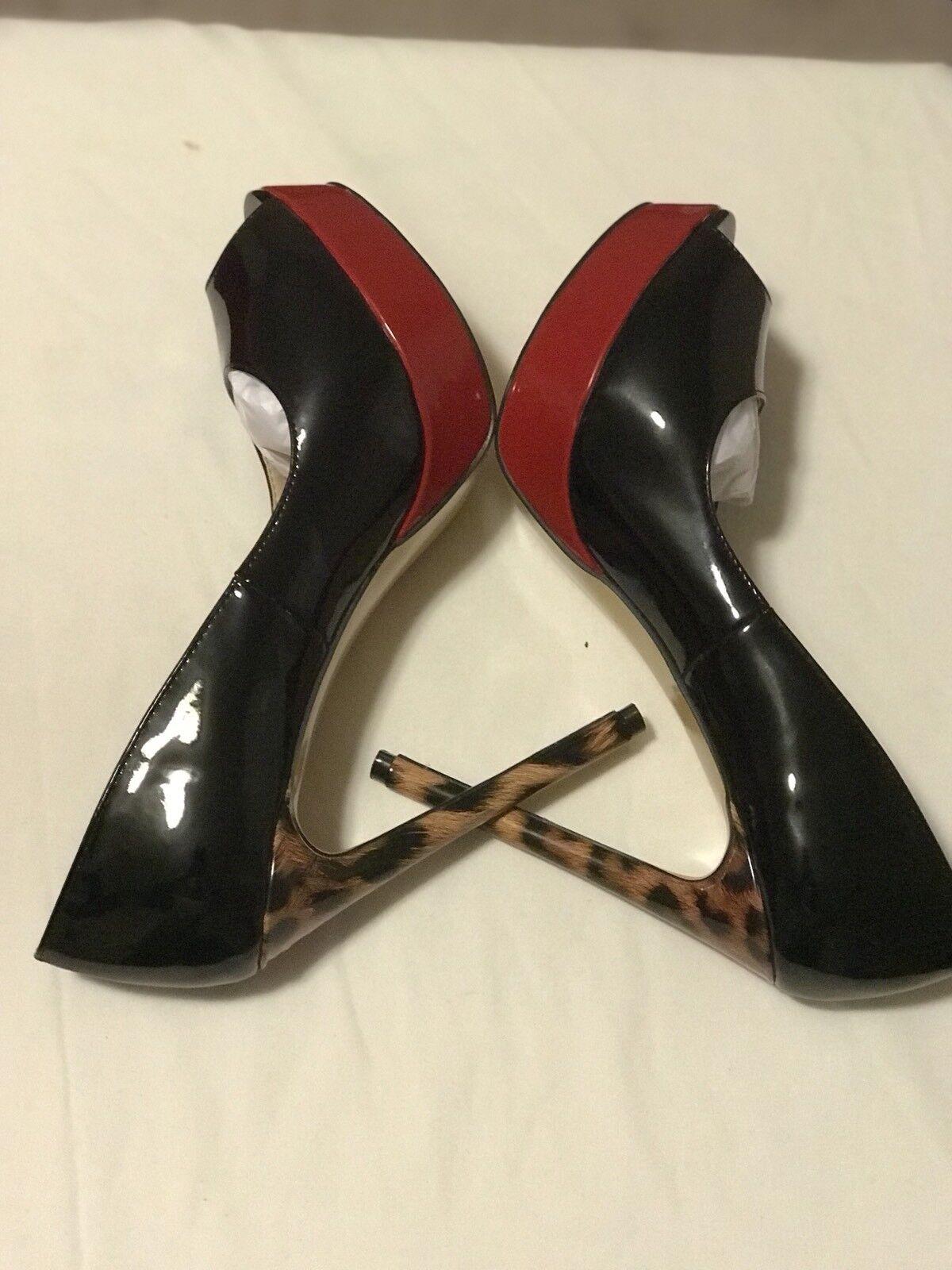 New  Dimensione 10  Wouomo Platform Open Toe 53 4 Inches Heel. Colour nero Leopard