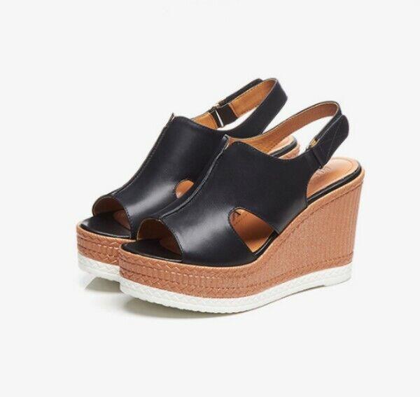 Leeather Womens Platform High Wedge Heels Sandal Pumps Casual OL shoes Hot Size