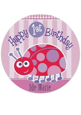 """GIRL 1ST BIRTHDAY ROUND 7.5/"""" CAKE TOPPER ICING OR RICEPAPER"""