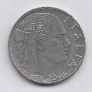 1940 Italy 20 Centesimi Stainless Steel Reeded Edge Magnetic WWII Coin