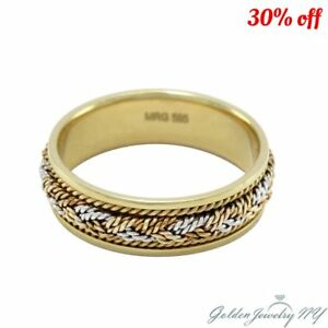 46f96a15e945c Details about 14k Yellow White Rose Gold 7mm Hand Braided Mens Women  Wedding Band