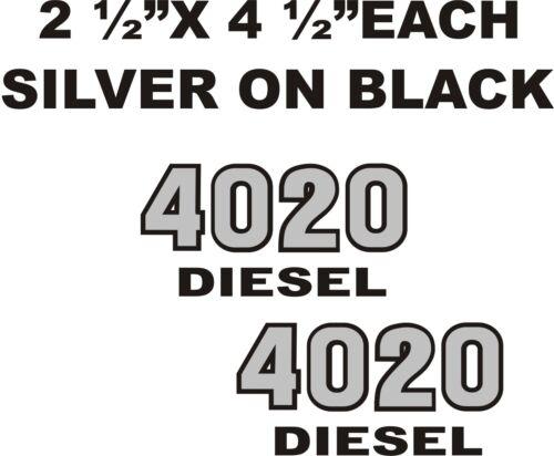 "IH FARMALL 4020 DIESEL  TRACTOR DECALS 2.5/"" X 4.5/"" EACH   SLIVER ON BLACK"