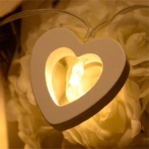 10 Wooden Heart Shape LED Fairy String Warm Lights Wedding Party Christmas Decor