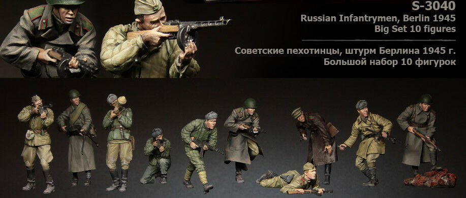 1 35 Kit Soviet Big Set 10 Figures t3040 High Quality Resin Kit 10 Figures