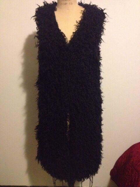 H&M Black Fake Faux Fuzzy Fur Vest - Long Sz 6 SOLD OUT FALL 2013