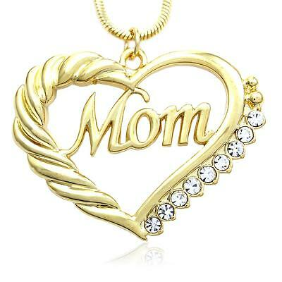 Gold Tone Heart MOM Necklace Love Pendant Women Mothers Day Jewelry Gift For Mom