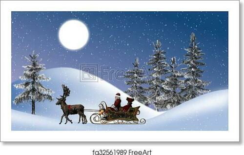 Poster Christmas Wall Art Home Decor Santa With Art Print // Canvas Print