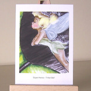 ACEO-pixie-firefly-fairy-Tinker-Bell-WDCC-Super-Heroic-drawing-Art-Card