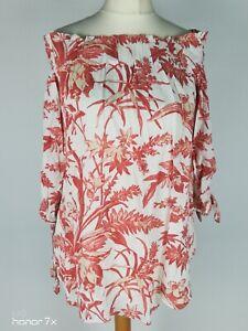 H&M Beige Orange Bardot Floral Print  Off Shoulder Smock Blouse Top Size S 10 38