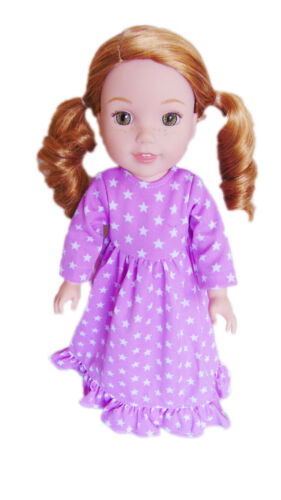 """Doll Clothes 14.5/"""" Nightgown Lavender Stars Fit 14.5/"""" AG WELLIE WISHER DOLLS"""
