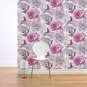 Muriva Madison Rose Floral Wallpaper Large Bloom Pink Flowers Roses 119505