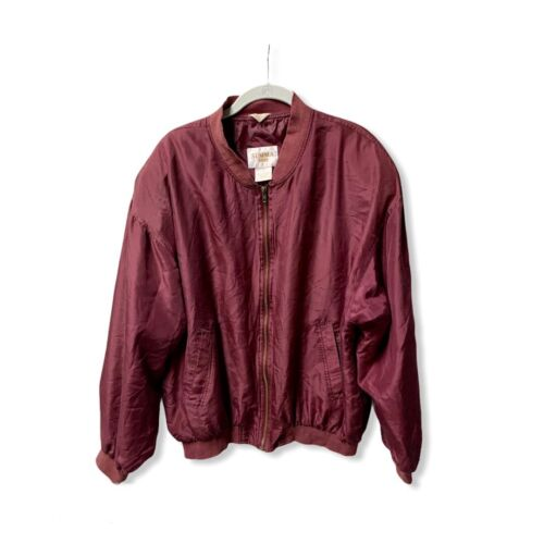 Vintage SUMMA SILK burgundy red bomber jacket Men… - image 1