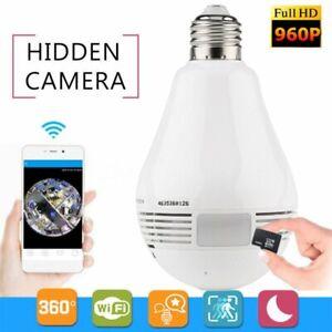 Mini Security IP Camera 360° Panoramic SPY Hidden 960P Wifi Wireless Light Bulb