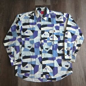 Mid-2000s-Bape-Blue-Mosaic-Camo-Button-Shirt