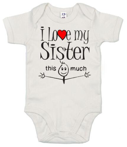 """Lustig Baby Body /"""" I Love Mein Schwester Das Viel /"""" Strampler Weste Junge"""