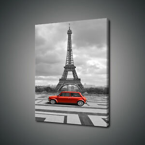 RETRO-VINTAGE-RED-CAR-EIFFEL-TOWER-PARIS-CANVAS-PRINT-WALL-ART-PICTURE-PHOTO