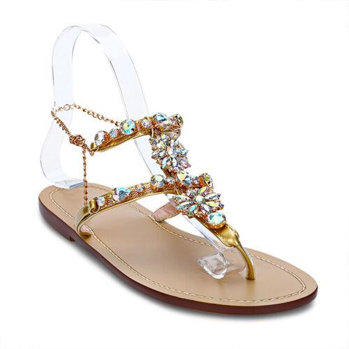 Hot Womens RHINESTONES Strap Flip Flops Strap Flat Beach Sandals Shoes PLUS SIZE