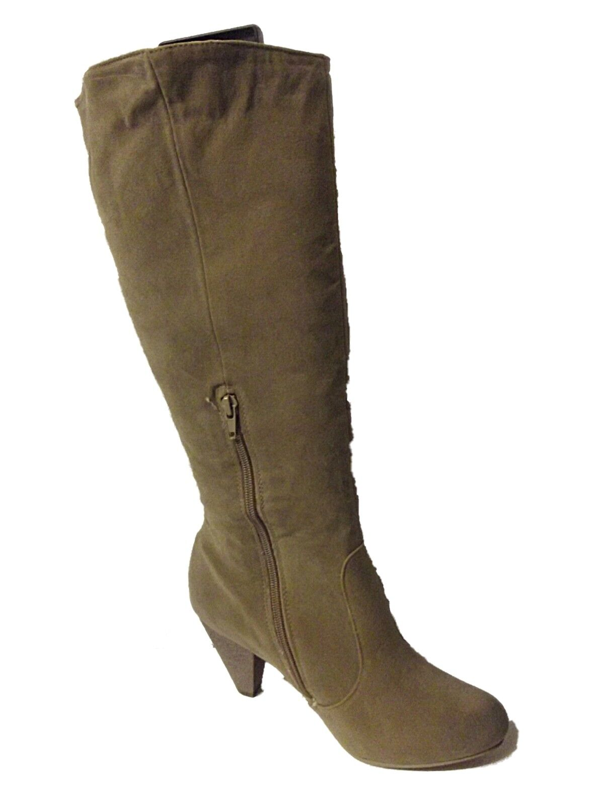 NEW LADIES EX STORE BEIGE FAUX SUEDE HEELED KNEE HIGH TALL BOOTS 1 - 8 WIDE