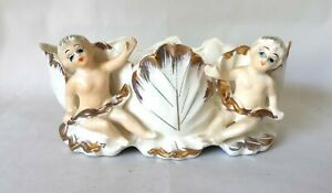 Vintage-Royal-Sealy-Porcelain-Planter-Two-Cherubs-Cream-with-Gold-Accents-Japan