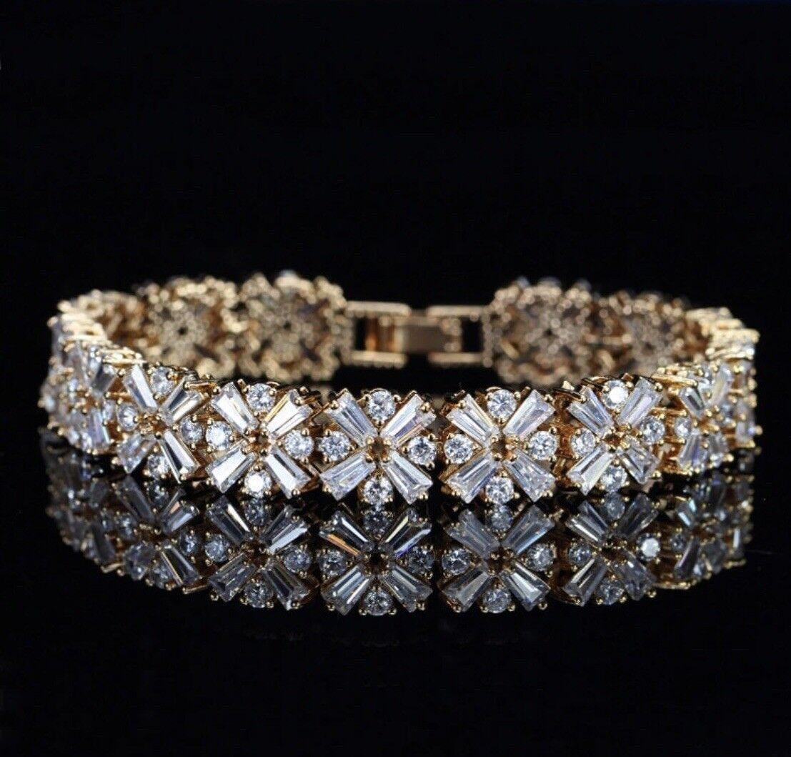 18K gold Tennis Bracelet made w  Swarovski Crystal Baguette Stone Gorgeous Jewel
