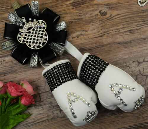 Stunning sparkly boxing gloves pram charm in baby black with bling rhinestone 1