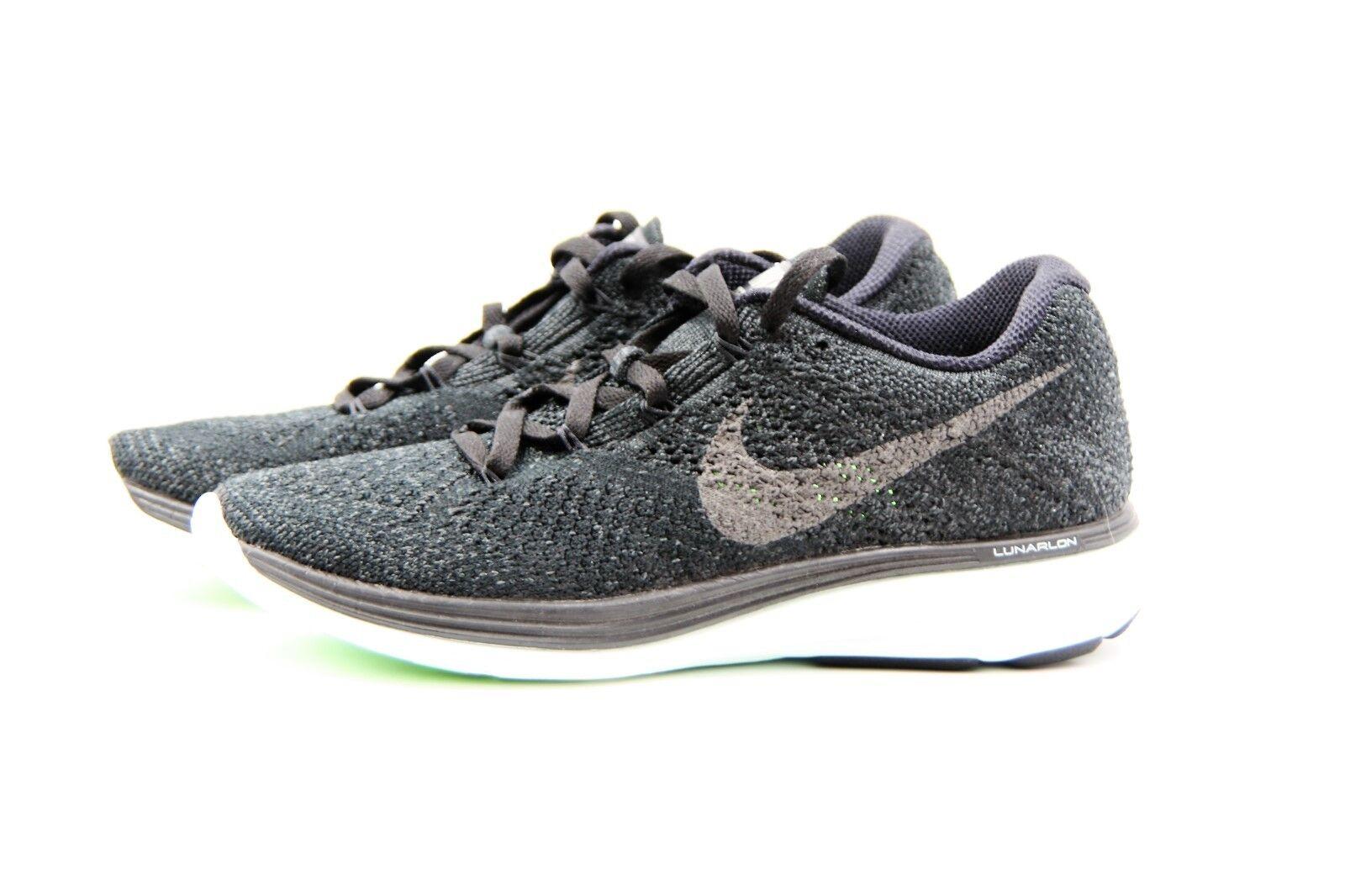 Women's Nike Flyknit Lunar3 LB Size 6 (826838 003) Black Pewter Green