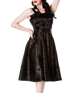 HELL-BUNNY-Rockabilly-Dress-TATTOO-FLOCK-50s-BLACK-Swallows