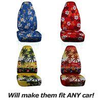Hawaiian Print Car Seat Covers (front, Semi-custom) Blue/red/yellow Palm/flowers