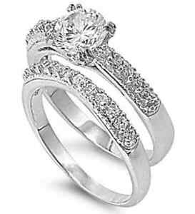 Solitaire-18K-White-Gold-GP-Round-Simulated-Diamond-Sz-5-Engagement-Ring-Set-S4