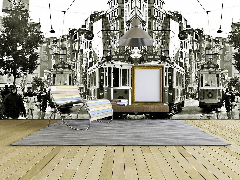 3D City Street Tram 094 Wall Paper Wall Print Decal Wall Deco Wall Indoor Murals