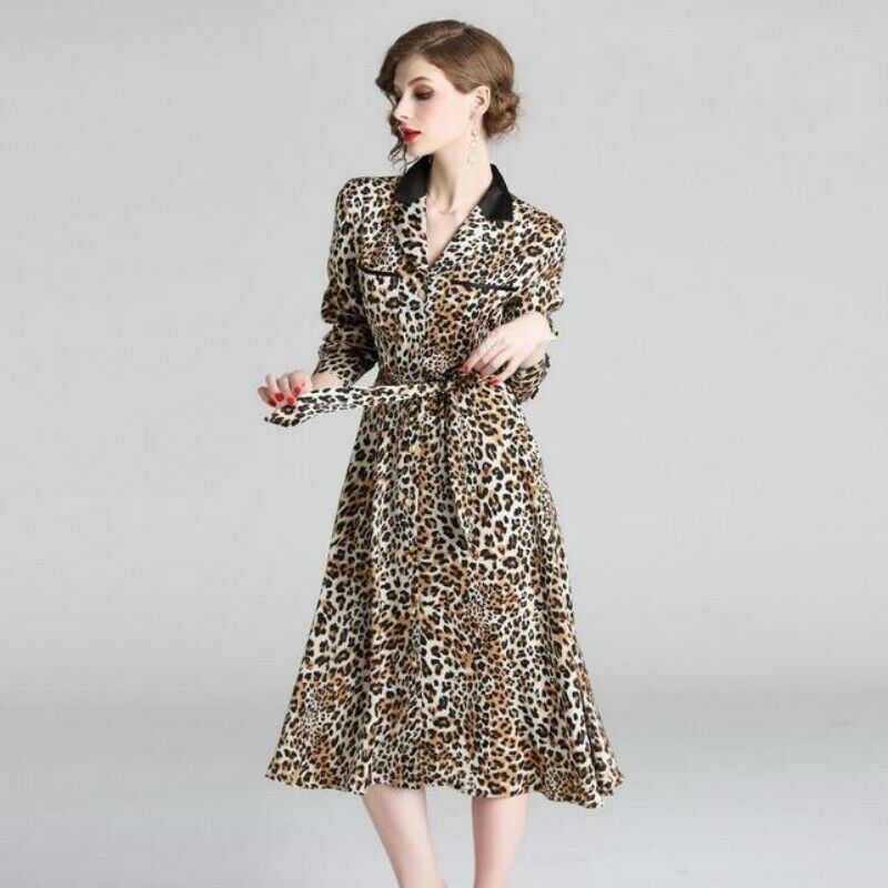 Occident Womens Sexy Single Breasted Leopard Printing Printing Printing Mid Long A-line Dress New fc881d