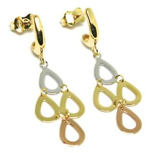 Pendientes-Largos-Oro-Amarillo-Rosa-y-Blanco-750-18-CT-Gotas-Lisa-Moviles