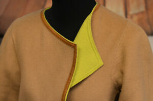 Lafayette-Size-P-Small-Brown-amp-Neon-Green-Open-Front-Blazer-Jacket-Leather-Trim