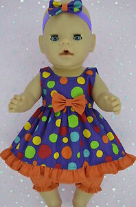 """Play n Wear Doll Clothes To Fit 17"""" Baby Born MULTI DOT DRESS~BLOOMERS~HEADBAND"""