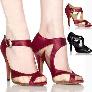 Women Satin Ballroom Salsa Latin Dancing Party Tango Heeled Shoes Sliding Gift