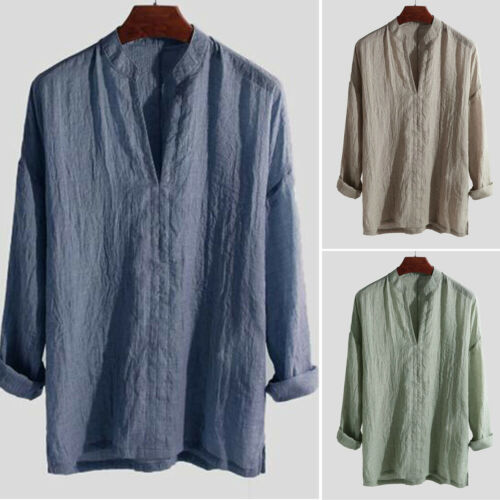 Men/'s Chinese Style Solid Color Loose Fit V-neck Long Sleeve Pullover Top Clothe