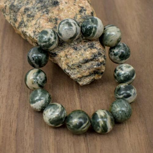 14 mm Green Zebra Jasper Bead Bracelet-6 inch to 9 inch-Necklace Available