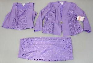 Especially-Yours-Women-039-s-Laserwork-Shine-3-Piece-Suit-SC4-Lavender-Size-24W-NWT