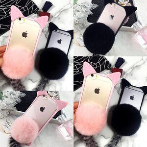 Details about 3D Fur Ball Cat Ears Clear TPU Case Phone Cover iPhone 7 7plus  Cute Women Girl ca03e995f3