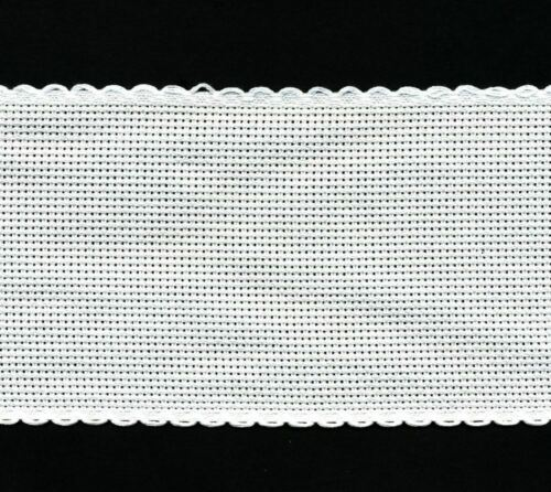 Zweigart 1 Metre Antique White Aida Band 8cm//3 Inch With a Scalloped Edging